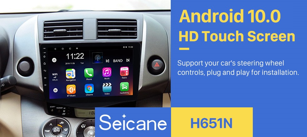 Seicane 2007-2013 Toyota RAV4 Android 10.0 Radio 9 inch HD Touchscreen GPS Navigation Steering Wheel control WIFI USB Bluetooth support DVR Backup Camera TV Video