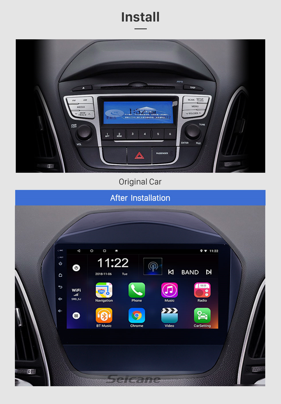 Seicane 9 inch HD Touchscreen Android 10.0 Radio for 2009 2010 2011-2015 Hyundai IX35 with GPS Sat Nav Bluetooth WIFI USB 1080P Video Mirror Link DVR OBD2