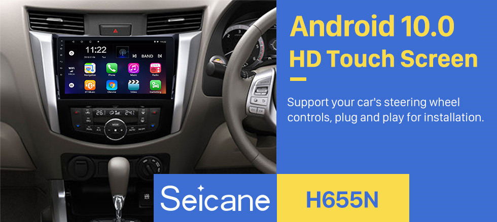 Seicane 10.1 Inch 1024*600 Android 10.0 2011-2016 Nissan NAVARA Frontier NP300/Renault Alaskan Bluetooth GPS Navigation Stereo Head Unit with 1080P Touchscreen Video DAB+ Radio Tuner Steering Wheel Control USB Music