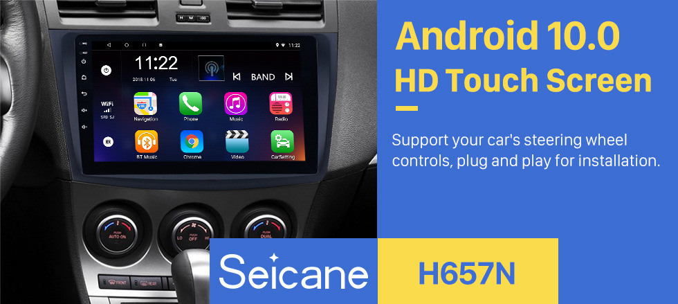Seicane 9 inch Touch Screen Android 10.0 Car Radio for 2009 2010 2011 2012 MAZDA 3 with GPS Sat Nav Bluetooth WIFI USB OBD2 Rearview Camera Mirror Link 1080P