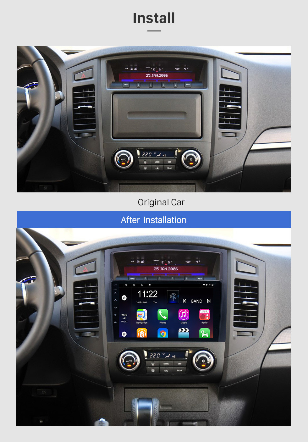 Seicane 9 inch HD 1024*600 Touch Screen 2006 2007 2008-2013 Mitsubishi PAJERO V97/V93 Android 10.0 Radio GPS Navigation Car Stereo with Bluetooth Music MP3 USB 1080P Video WIFI Mirror Link