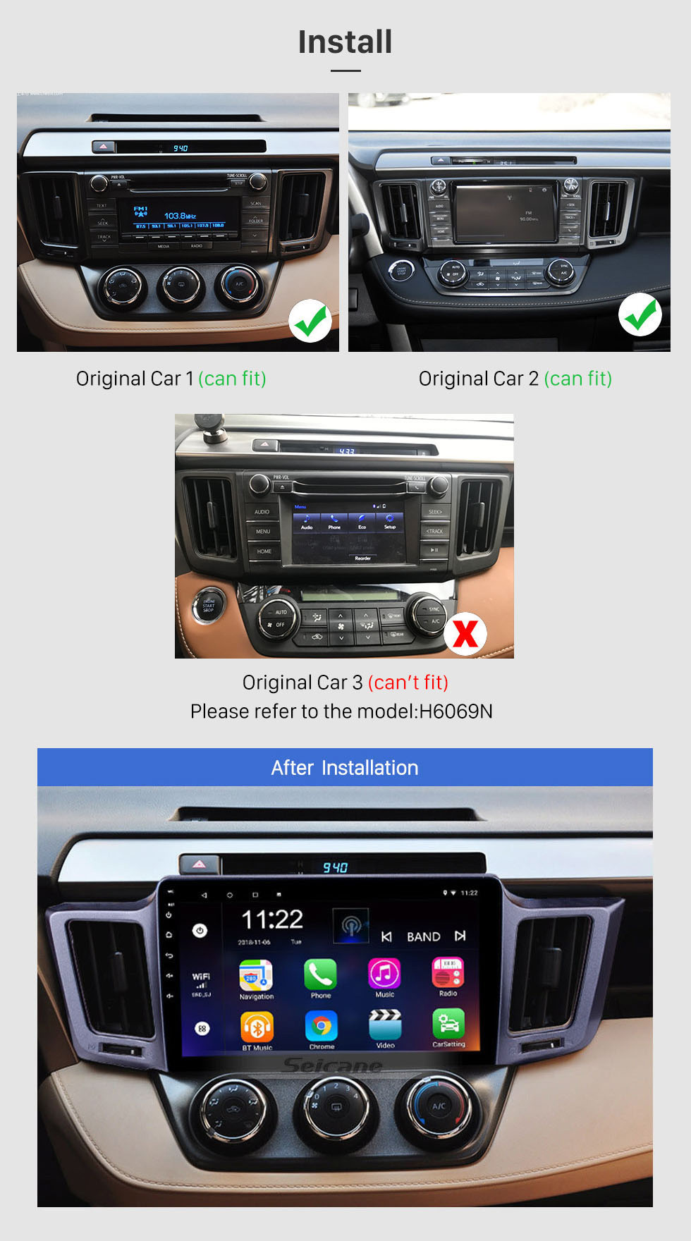 Seicane 2012-2015 Toyota RAV4 10.1 inch Android 10.0 GPS Navigation Radio with Touch Screen WiFi Bluetooth Music USB support OBD2 DVR TPMS