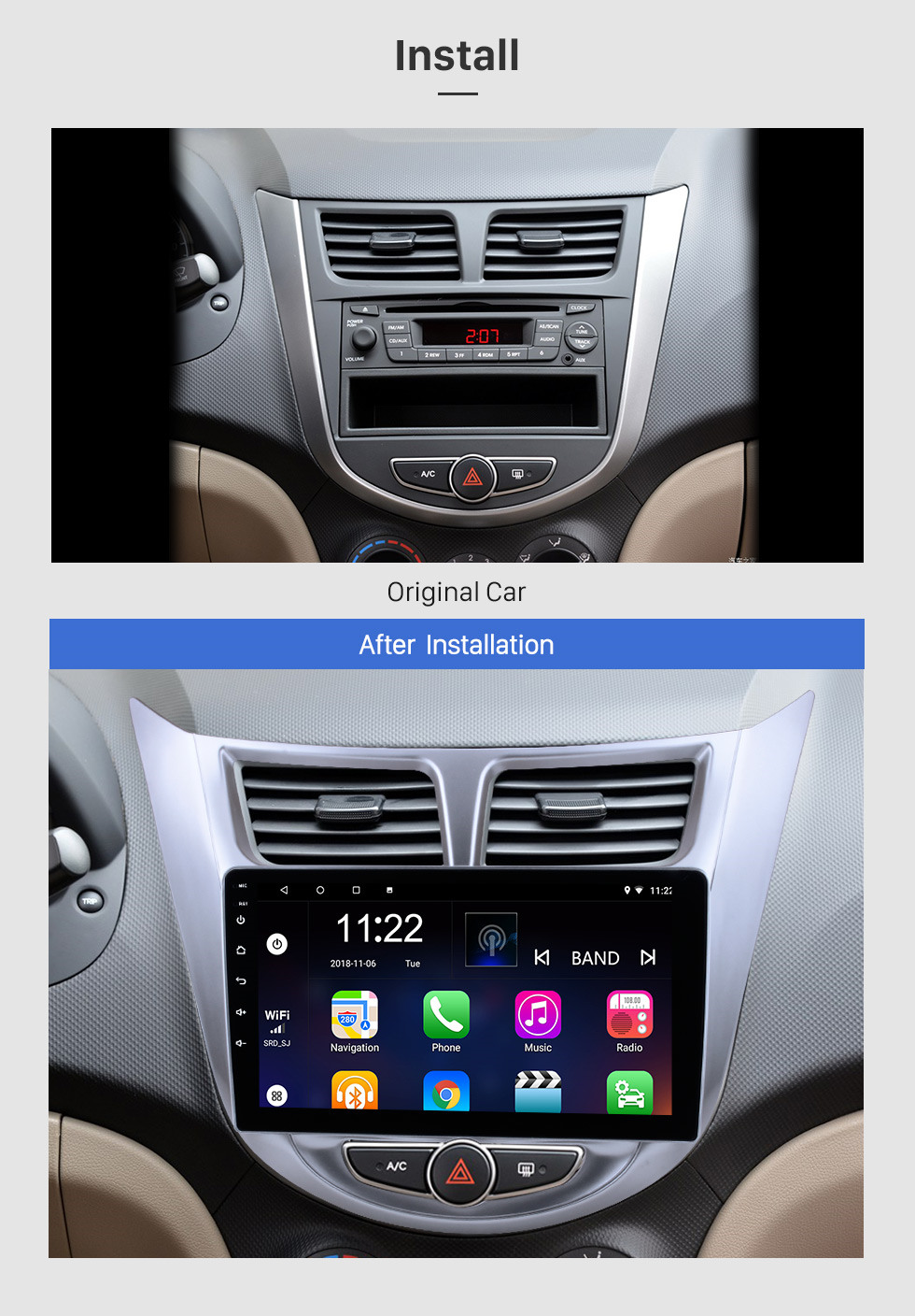 Seicane 9 inch HD 1024*600 Android 10.0 2011 2012 2013 Hyundai Verna Accent Solaris Radio Upgrade GPS Navigation Aftermarket Car Stereo Multi-touch Capacitive Screen Bluetooth Music 3G WiFi Mirror Link OBD2 MP3 MP4