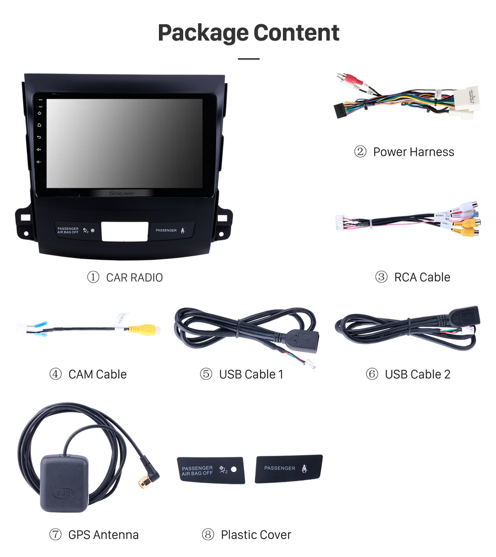 Seicane 9 inch Touch Screen 2006-2014 MITSUBISHI Outlander Android 10.0 Radio Bluetooth GPS Navigation system with WIFI support OBD2 DVR Backup camera