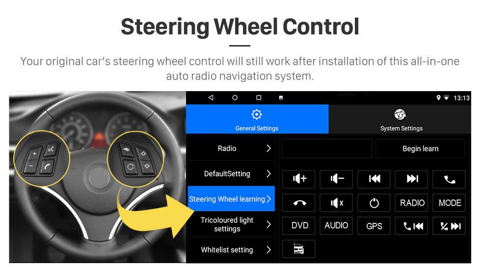Seicane 9 pulgadas con Android 10.0 Navegación GPS HD 1024 * 600 Radio con pantalla táctil para 2011-2015 Ford Focus con Bluetooth WIFI 1080P USB Mirror Link OBD2 DVR Control del volante
