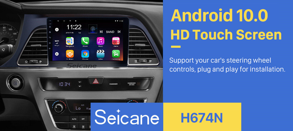 Seicane Android 10.0 2015 2016 2017 Hyundai Sonata 9 Inch HD Touchscreen GPS Navigation Radio with Bluetooth WIFI Support OBD2 Rearview Camera