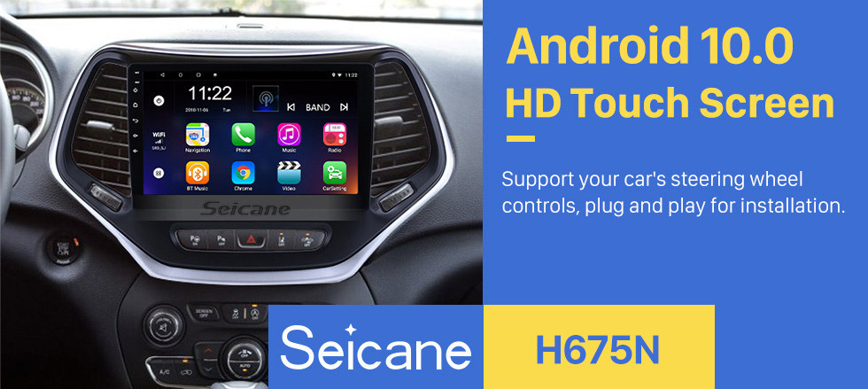 Seicane 2016 Jeep Grand Cherokee 10.1 inch Android 10.0 Touchscreen Radio GPS Navigation System WIFI Bluetooth Steering Wheel Control support OBD2 DVR Backup Camera