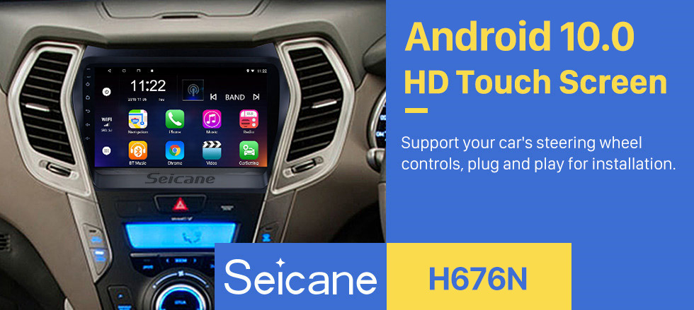 Seicane 9 inch Android 10.0 Car Multimredia Player HD Touchscreen Radio GPS Navigation For 2013-2017 Hyundai IX45 SantaFe TV tuner SWC Bluetooth WIFI OBD