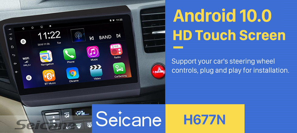 Seicane 2012 HONDA CIVIC Right Hand Driving 9 Inch Android 10.0 Radio GPS Navigation Bluetooth HD Touchscreen Mirror link USB WIFI Steering Wheel Control support DVR Backup camera OBD2