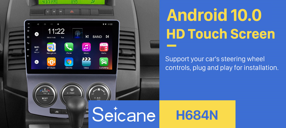 Seicane 2005-2010 Old Mazda 5 Android 10.0 GPS Navigation Radio 9 inch HD Touchscreen with Bluetooth USB WIFI support Carplay OBD2 DAB+ Mirror Link