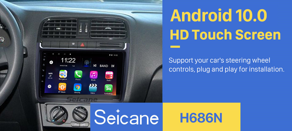 Seicane 9 Inch 1024*600 Android 10.0 2012-2015 VW Volkswagen Polo Car Audio Stereo GPS Navigation with 1080P Video Bluetooth Music RDS Radio Mirror Link Steering Wheel Control