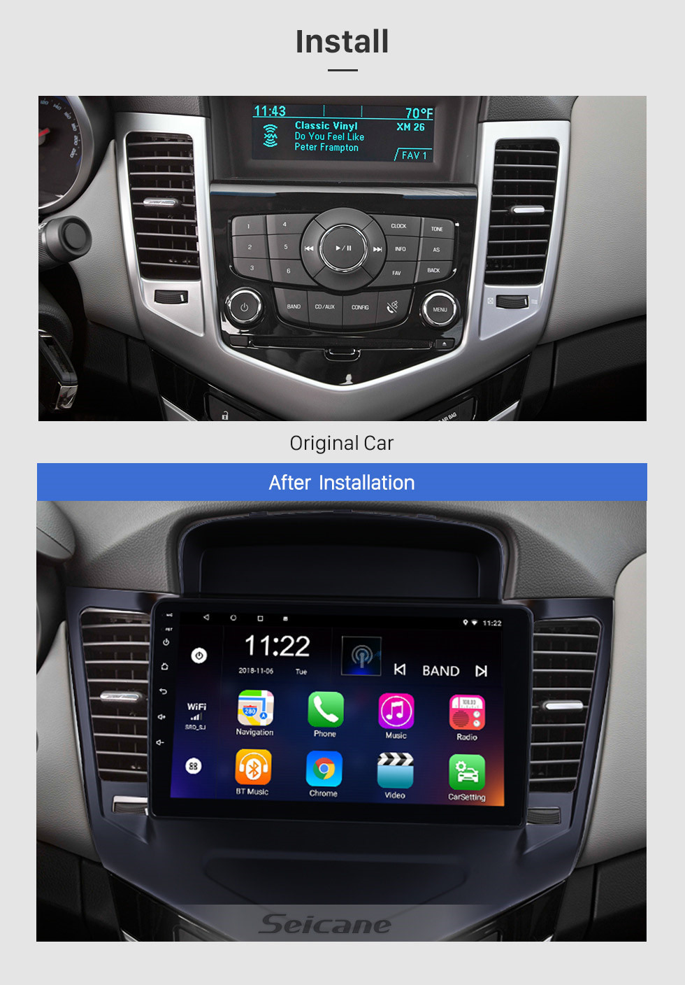 Seicane HD Touchscreen 9 inch Android 10.0 GPS Navigation Radio for Chevrolet Cruze 2013-2015 with Bluetooth USB WIFI AUX support DVR Carplay SWC 3G Backup camera