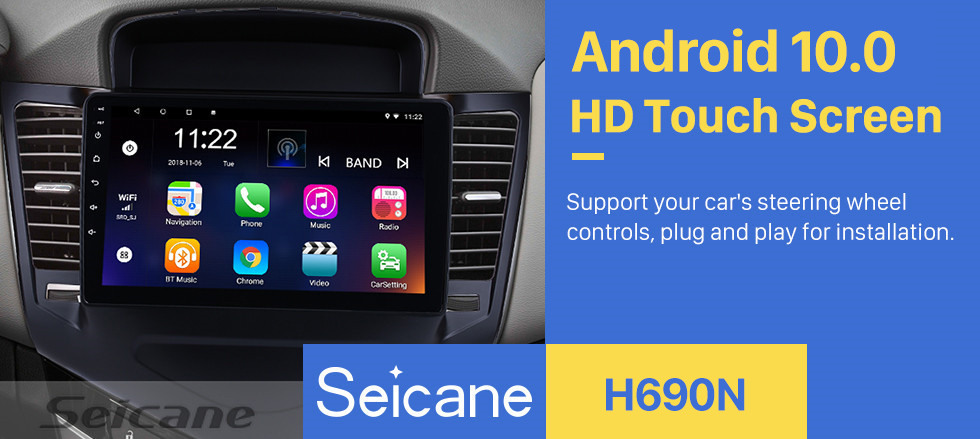 Seicane 2013 2014 2015 Chevy Chevrolet Cruze 9 inch Android 10.0 HD 1024*600 Touchscreen Radio with GPS Navigation Bluetooth USB OBD2 WIFI 1080P Mirror Link Steering Wheel Control