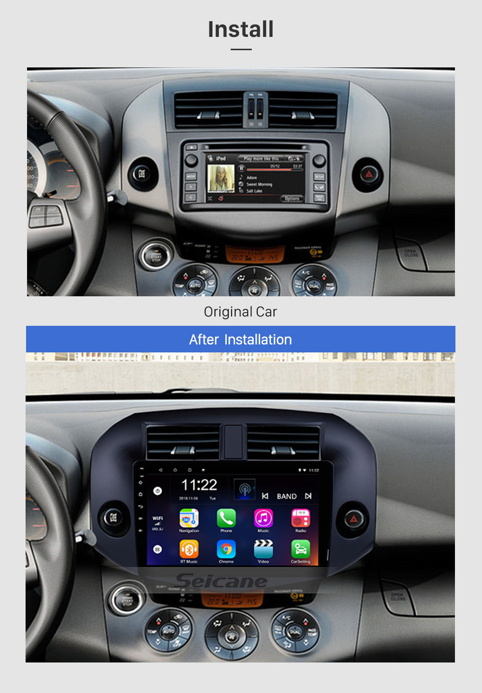 Seicane OEM Android 10.0 Radio for 2007-2011 Toyota RAV4 10.1 inch HD Touch Screen Bluetooth GPS Navigation USB WIFI Music SWC OBD DVR Rearview Camera TV