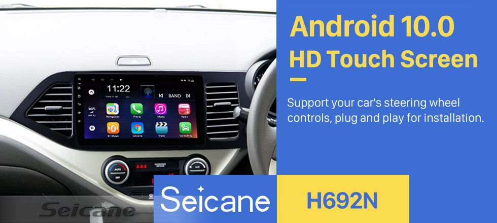 Seicane Android 10.0 Multimedia player for 2011-2014 KIA Picanto Morning RHD 9 inch HD Touchscreen Radio  WIFI OBD2 Bluetooth GPS Navigation system Mirror link DVR Backup camera TV USB HD 1080P Video Steering Wheel control