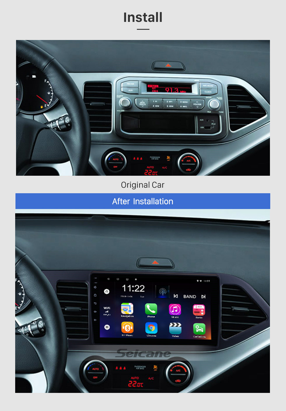 Seicane 9 inch Android 10.0 GPS Radio for 2011-2014 KIA PICANTO Morning (LHD) 1024*600 Touch Screen Bluetooth Navigation system Mirror link OBD2 DVR  Backup Camera TV 3G WIFI USB SD 16G Flash 1080P Video