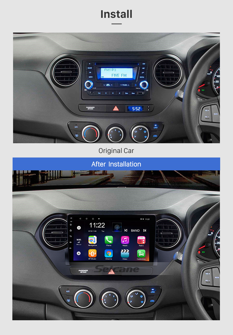 Seicane HD Touch Screen 9 inch Android 10.0 2013-2016 HYUNDAI I10 Grand i10 RHD GPS Navigation Radio with Bluetooth WiFi support Mirror Link Steering Wheel Control