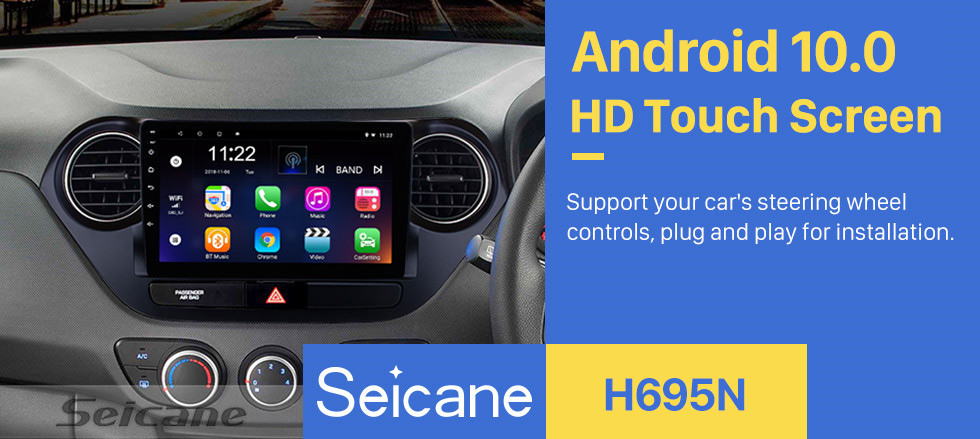 Seicane All-in-one Android 10.0 2013-2016 HYUNDAI I10 Grand i10 RHD radio GPS Navigation System Touch Screen Bluetooth WiFi 3G Mirror Link OBD2 Steering Wheel Control