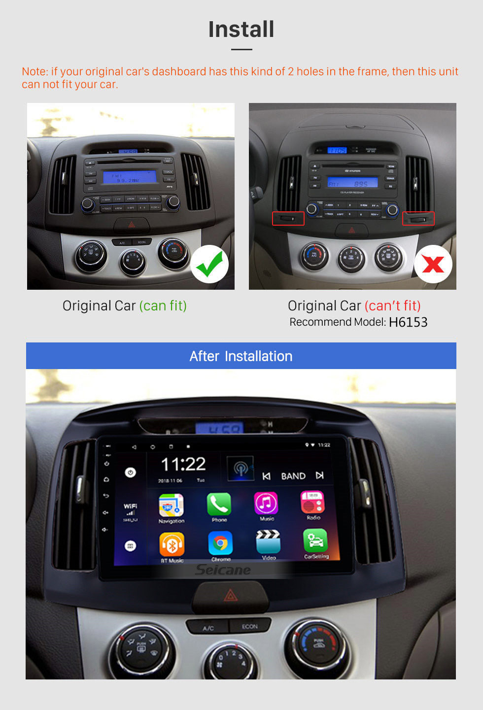 Seicane 9 inch OEM Android 10.0 2011 2012 2013 2014 2015 2016 Hyundai Elantra Radio GPS Navigation System with HD Touch Screen WIFI Bluetooth OBD2 TPMS Backup Camera Steering Wheel Control Digital TV