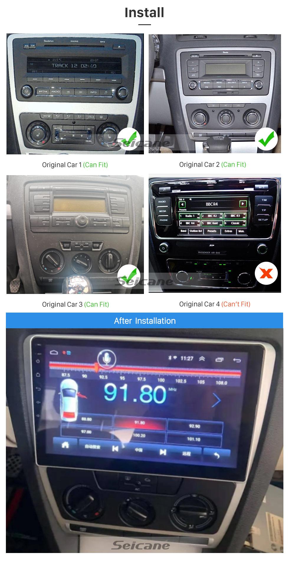 Seicane 10.1 inch Android 10.0 HD Touch Screen 2007-2014 SKODA Octavia Radio GPS Bluetooth Head unit Mirror Link OBD2 TPMS DVR Rearview Camera Digital TV Steering Wheel Control 3G Wifi