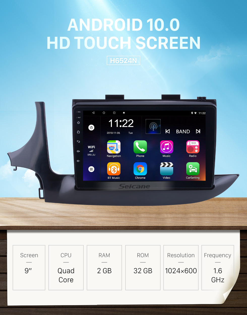 Seicane Android 10.0 9 inch for 2016 Buick Encore Radio HD Touchscreen GPS Navigation System with Bluetooth support Carplay DVR