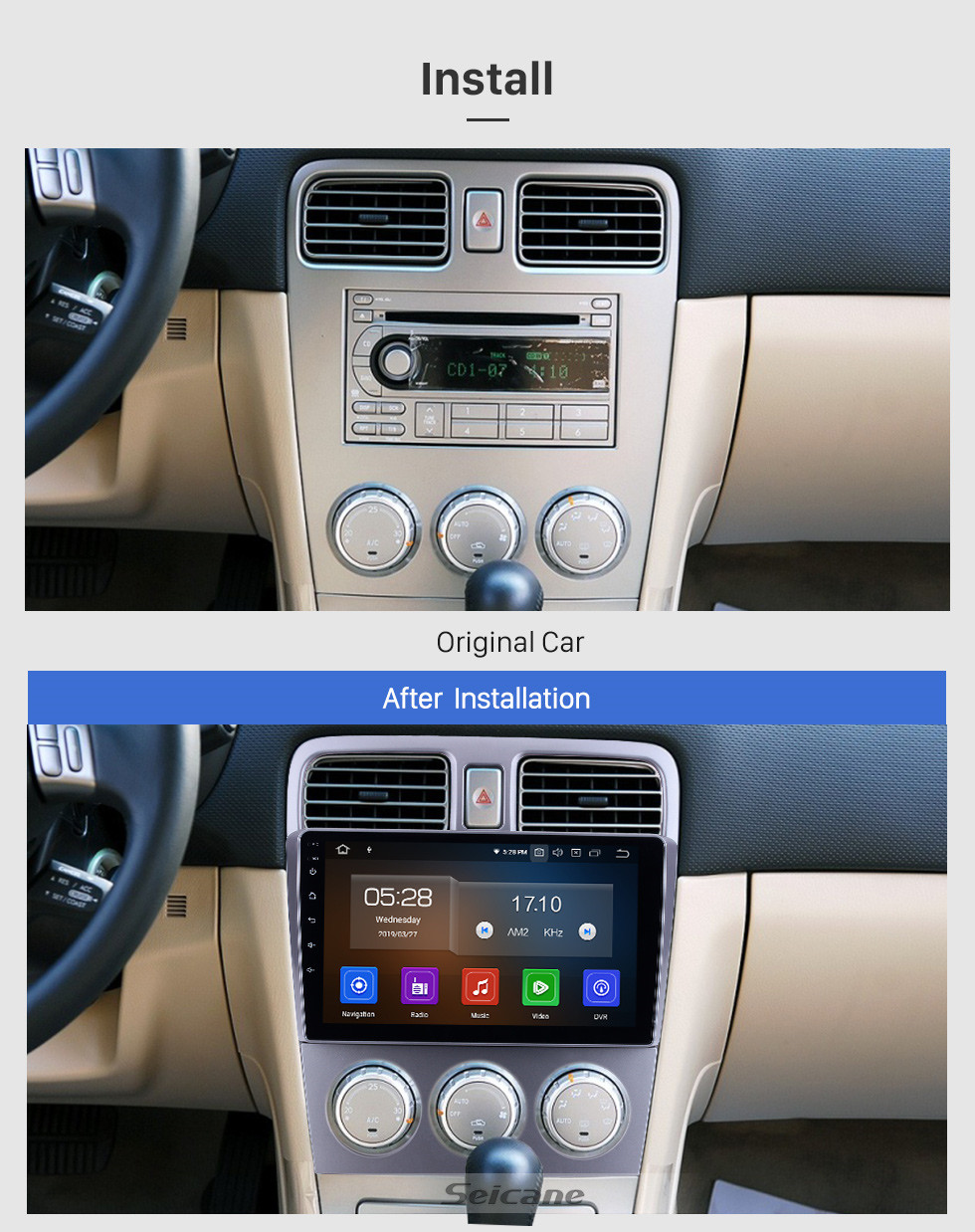 Seicane 9 inch For 2004 2005 2006 2007 2008 Subaru Forester Radio Android 9.0 GPS Navigation System Bluetooth HD Touchscreen Carplay support TPMS