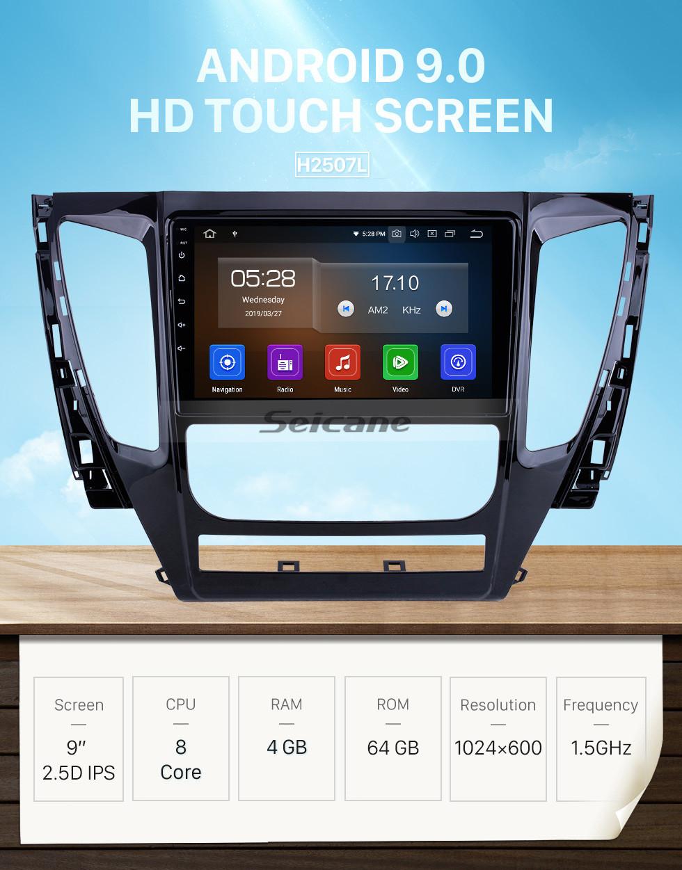 Seicane Android 9.0 Für 2015 2016 2017 Mitsubishi Pajero Sport Radio 9 zoll GPS Navigationssystem Bluetooth HD Touchscreen Carplay unterstützung SWC