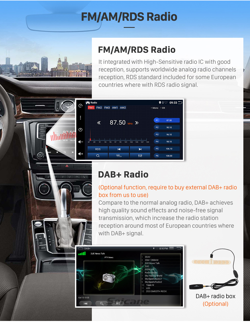 Seicane 9.7 inch GPS Navigation Universal Radio Android 10.0 With HD Touchscreen Bluetooth USB WIFI support DAB+ Rearview camera