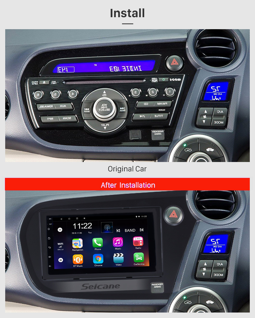 Seicane 2009-2016 Honda Insight RHD 7 inch Android 10.0 Car Radio GPS Navigation with HD Touchscreen Bluetooth FM  Wifi Steering Wheel Control Mirror Link support DVR Backup Camera OBD2 3G Module