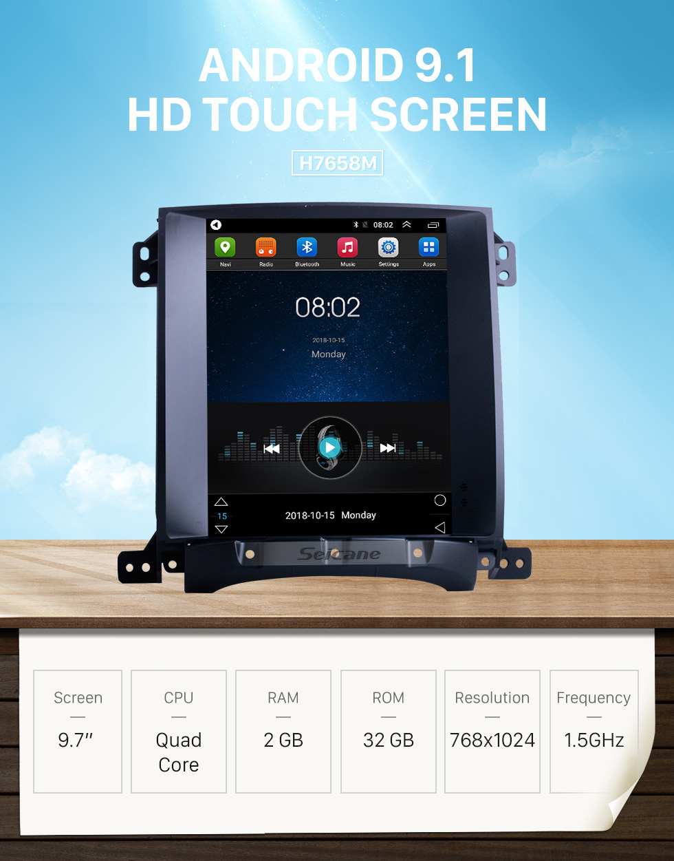 Seicane 9.7 inch Android 9.1 for 2004 2005 2006 2007 2008 Kia Sorento Radio GPS Navigation System with HD Touchscreen Bluetooth support Carplay TPMS