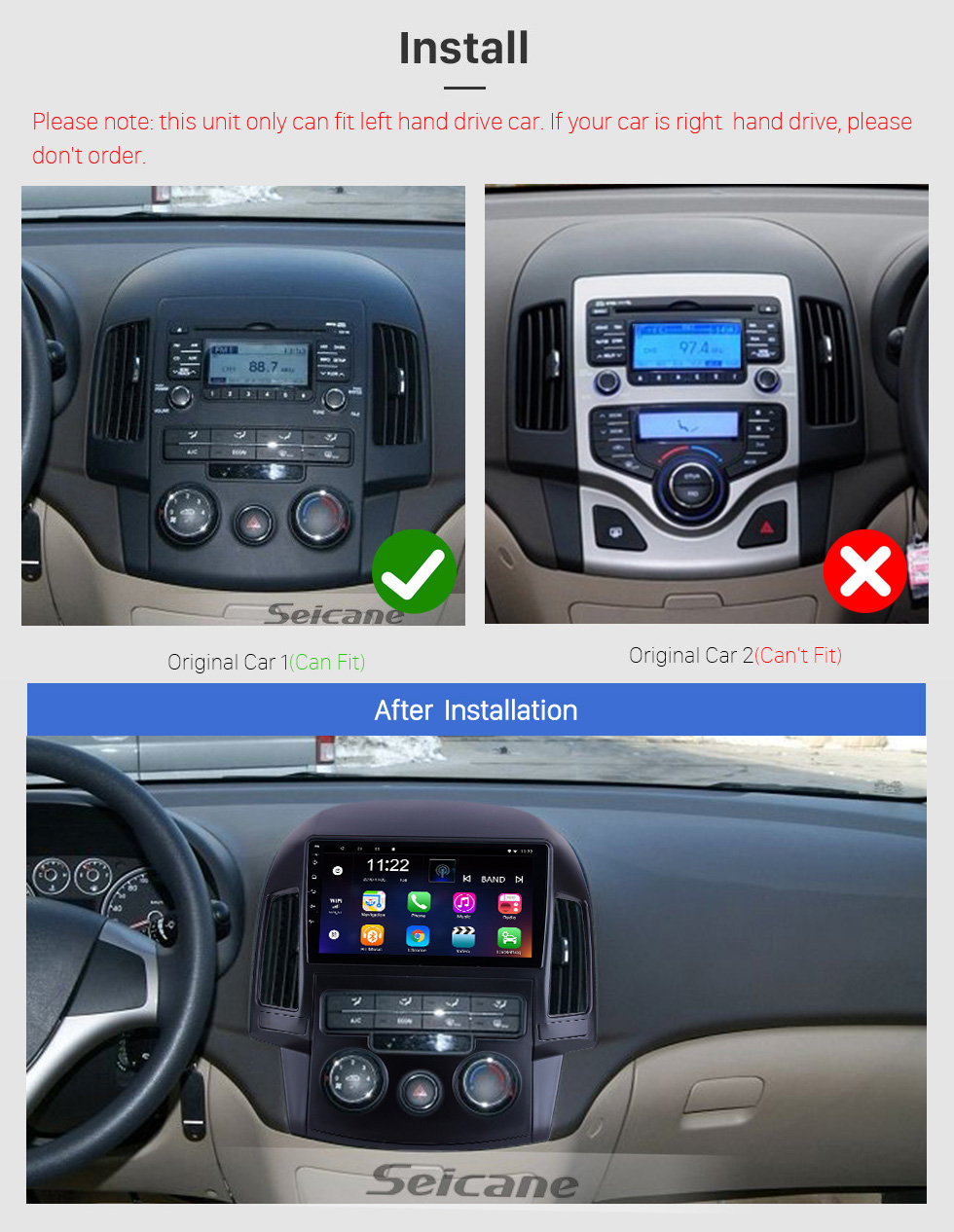 Seicane For 2008 2009 2010 2011 Hyundai i30 LHD Manual A/C Radio 9 inch Android 10.0 HD Touchscreen GPS Navigation System with Bluetooth support Carplay