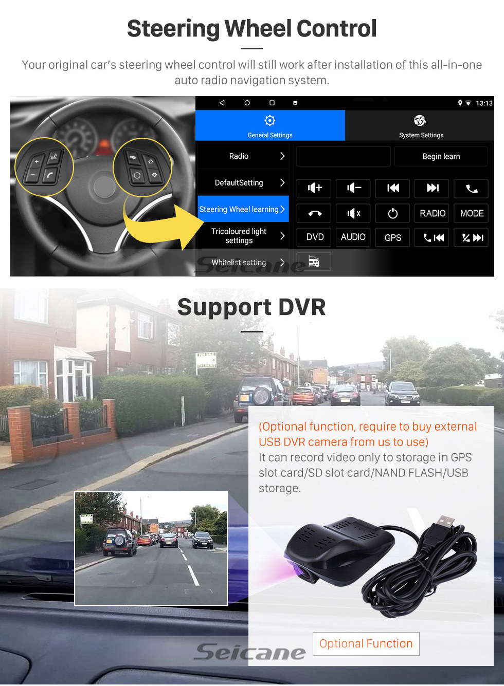 Seicane 9 inch Android 10.0 for 2017 Opel Karl/Vinfast Radio GPS Navigation System With HD Touchscreen USB Bluetooth support DAB+ Carplay