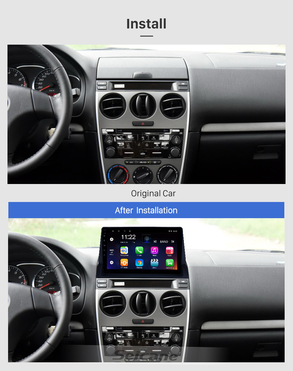Seicane HD Touchscreen 10.1 inch Android 10.0 GPS Navigation Radio for 2002-2008 Old Mazda 6 with Bluetooth USB support Carplay Mirror Link Backup camera