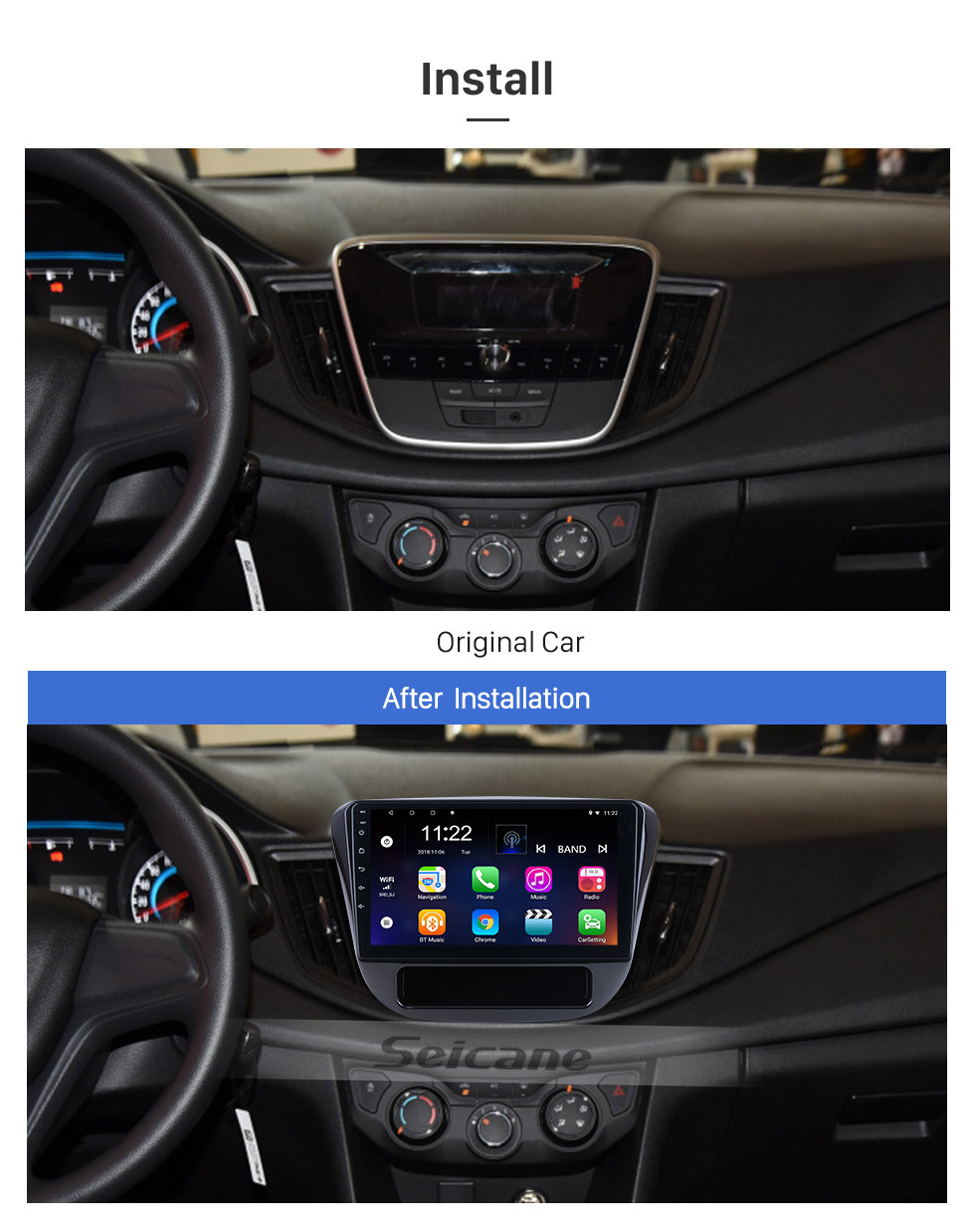 Seicane For 2016 Chevy Chevrolet Cavalier Radio 9 inch Android 10.0 HD Touchscreen GPS Navigation System with Bluetooth support Carplay SWC