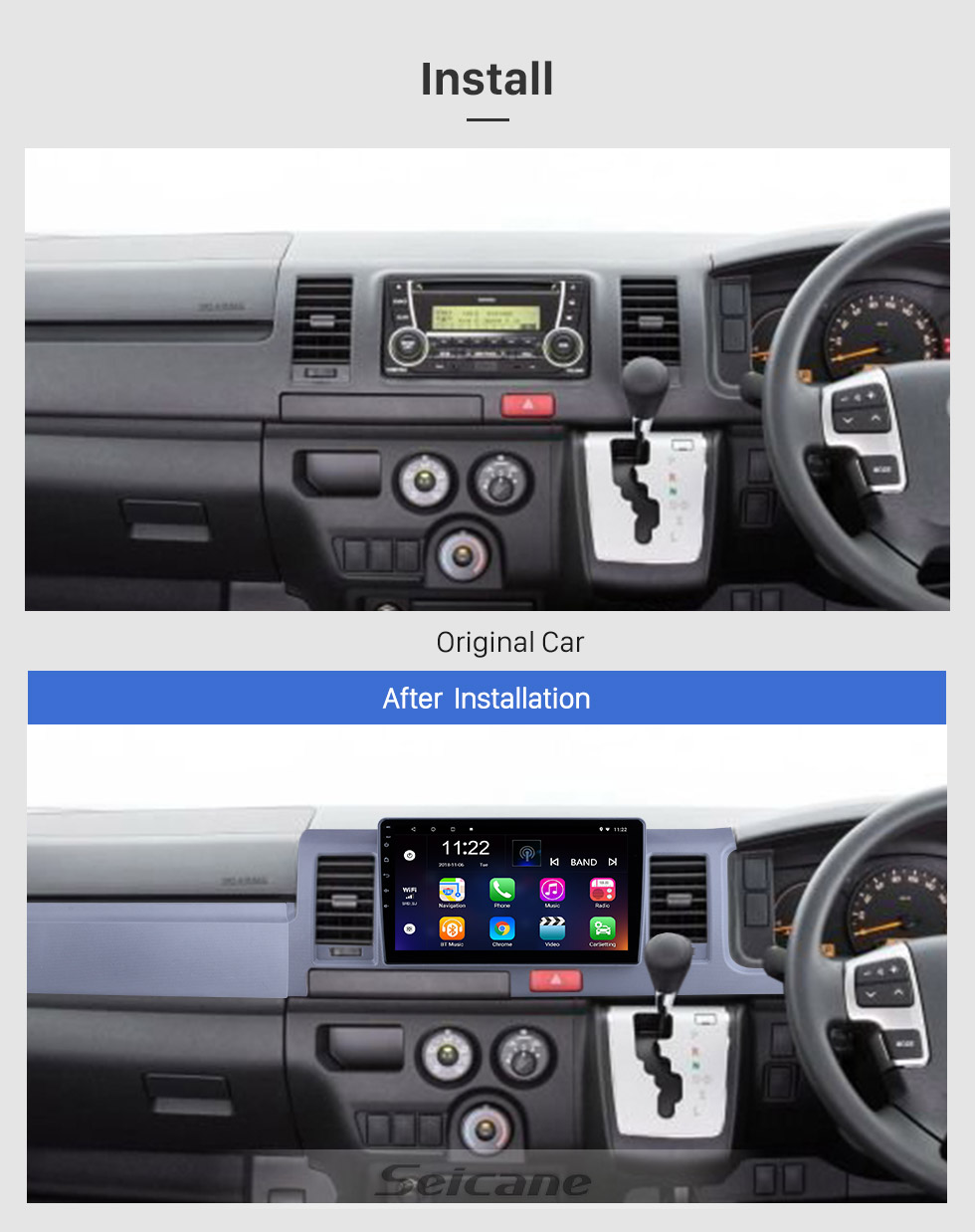 Seicane OEM 10.1 inch Android 10.0 for 2010 2011 2012-2018 Toyota Hiace RHD Radio Bluetooth HD Touchscreen GPS Navigation System support Carplay