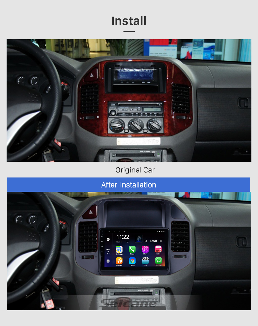 Seicane Android 10.0 9 inch for 2004 2005 2006-2011 Mitsubishi Pajero V73 Radio HD Touchscreen GPS Navigation System with Bluetooth support Carplay Rear camera