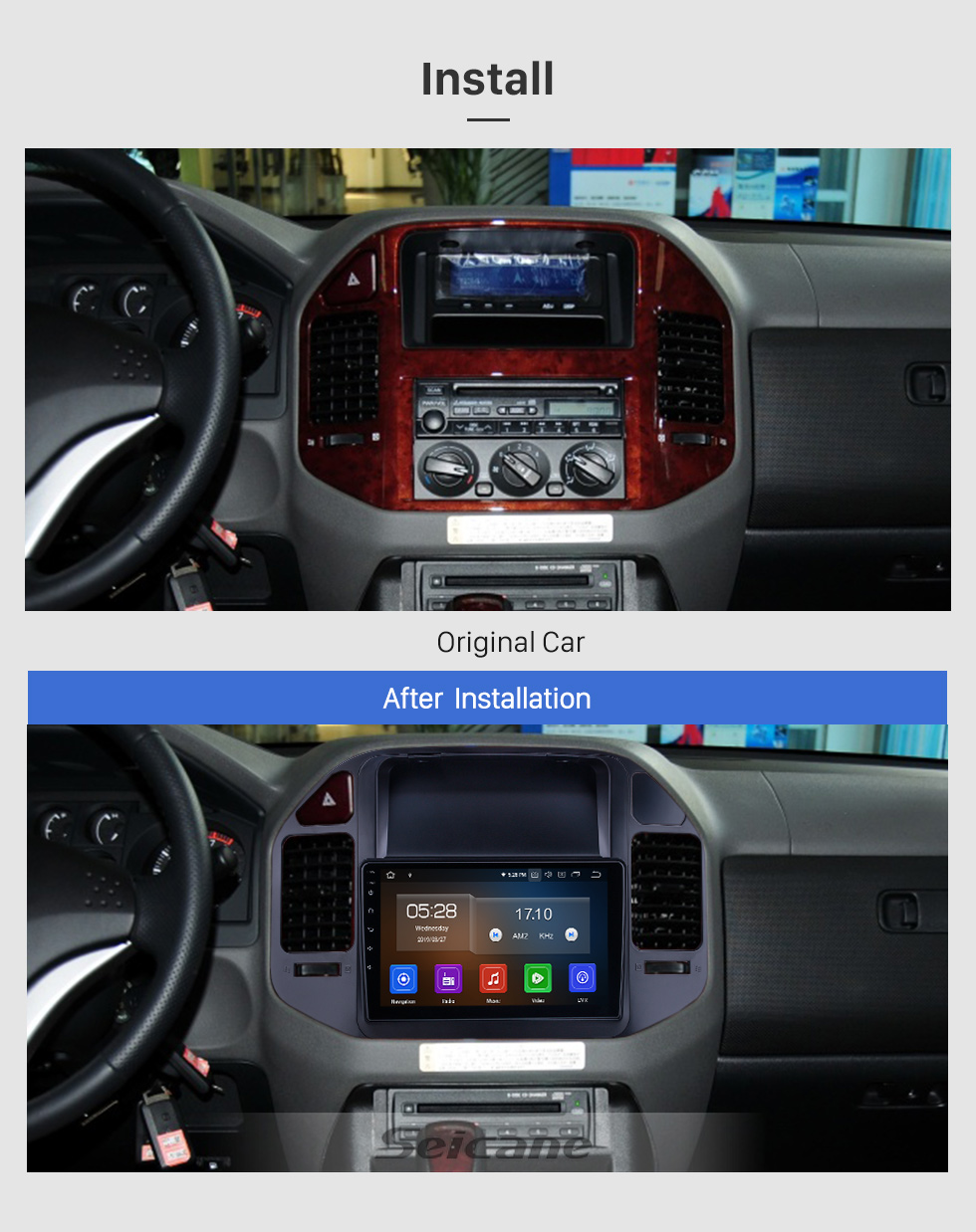 Seicane OEM 9 inch Android 9.0 for 2004 2005 2006-2011 Mitsubishi Pajero V73 Radio Bluetooth HD Touchscreen GPS Navigation System Carplay support Digital TV