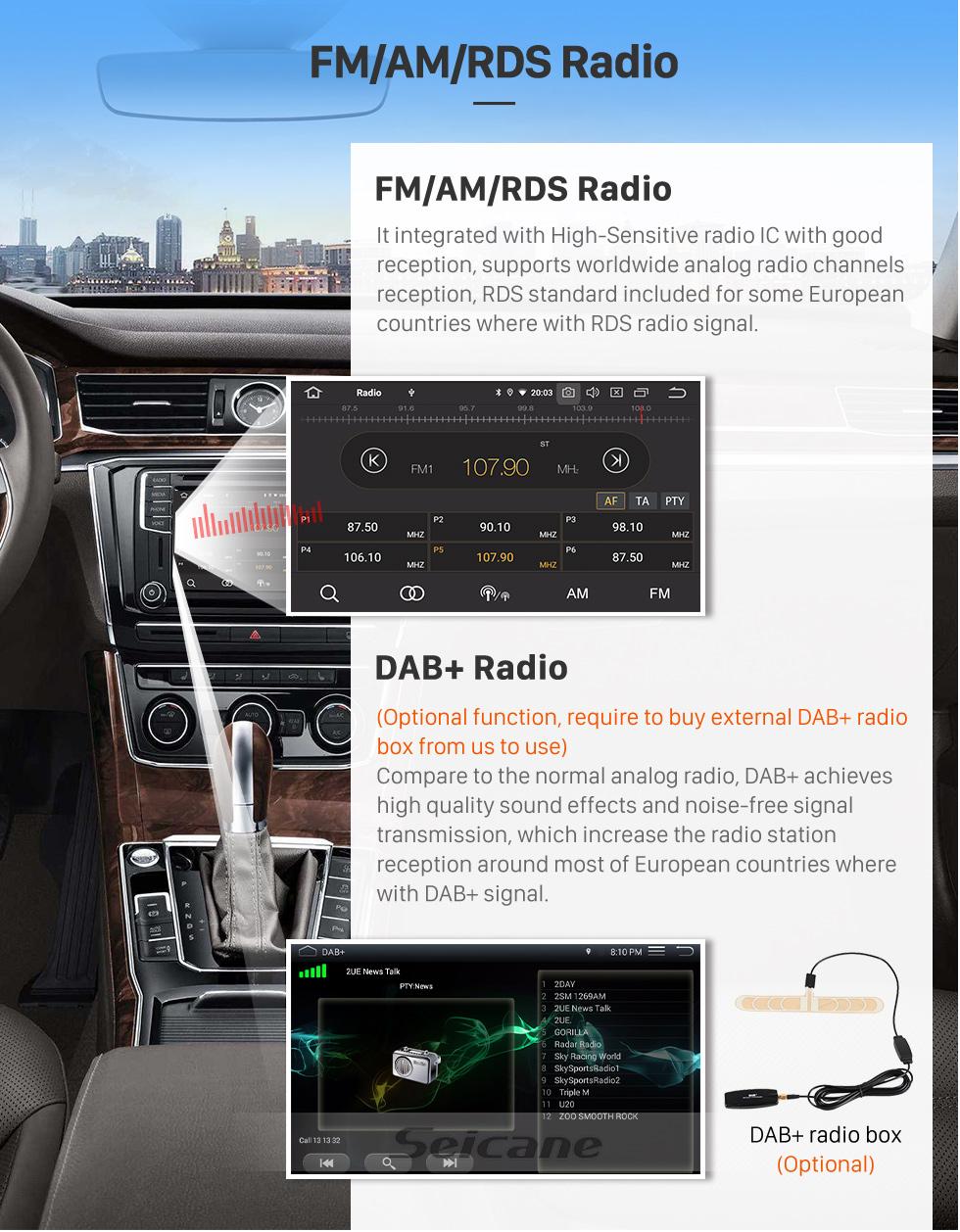 Seicane Tela sensível ao toque HD para 2016 JMC Lufeng X5 Radio Android 9.0 9 polegadas Sistema de Navegação GPS Bluetooth WIFI Carplay support DAB + Câmera de backup