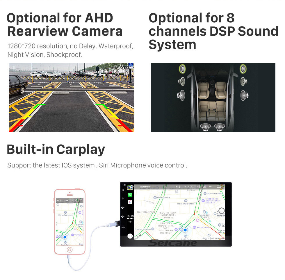 Seicane Android 9.0 Pour 2014 Baic Huansu Radio 9 pouces Système de navigation GPS Bluetooth HD Écran tactile Support Carplay Caméra arrière