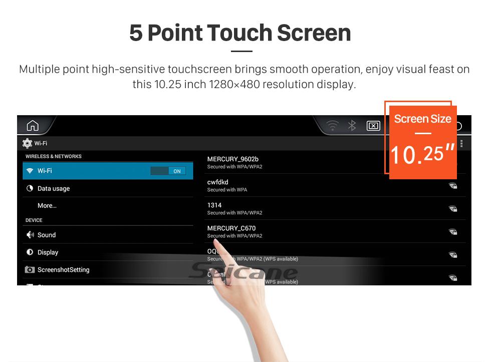 Seicane 10,25-дюймовый сенсорный экран HD Android 9.0 2011 2012 BMW 5 серии F10 / F11 CIC Стерео-автомагнитола GPS-навигатор Bluetooth-телефон Поддержка MP3 Поддержка рулевого управления WIFI Резервная камера