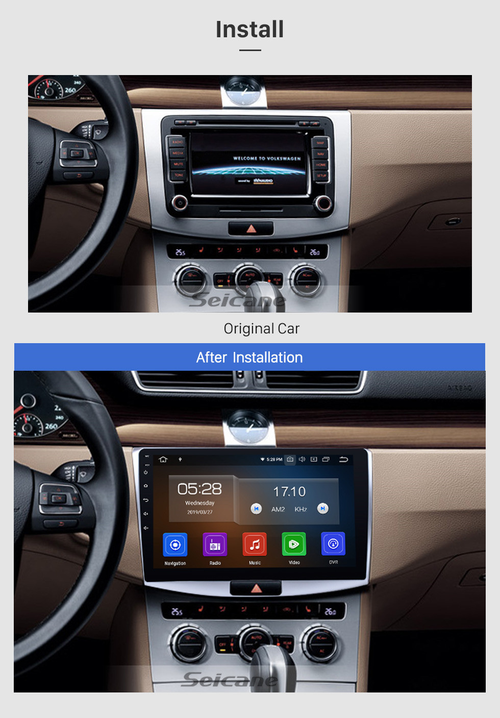 Seicane 10,1-дюймовый Android 10,0 для 2012 2013 2014 VW Volkswagen Magotan Radio Upgrade 1024 * 600 Мультисенсорный экран GPS-навигация Стерео CD-плеер SWC WiFi OBD2 Зеркальная связь Bluetooth Музыка