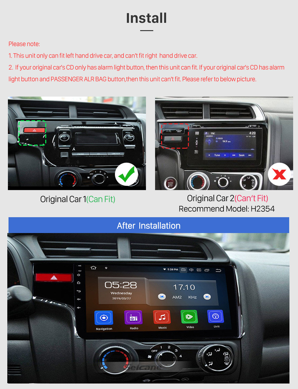 Seicane 10.1 Inch OEM Android 10.0 Radio Capacitive Touch Screen For 2014 2015 Honda FIT Support WiFi Bluetooth GPS Navigation system TPMS DVR OBD II AUX Headrest Monitor Control Video Rear camera USB SD