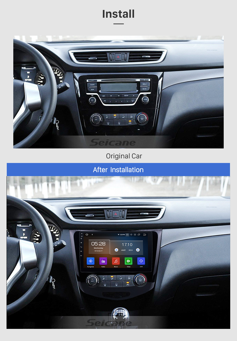 Seicane 10.1 inch For 2014 2015 2016 Nissan Qashqai Android 10.0 Radio GPS Navigation System with Bluetooth TPMS USB AUX 3G/4G WIFI Steering Wheel Control