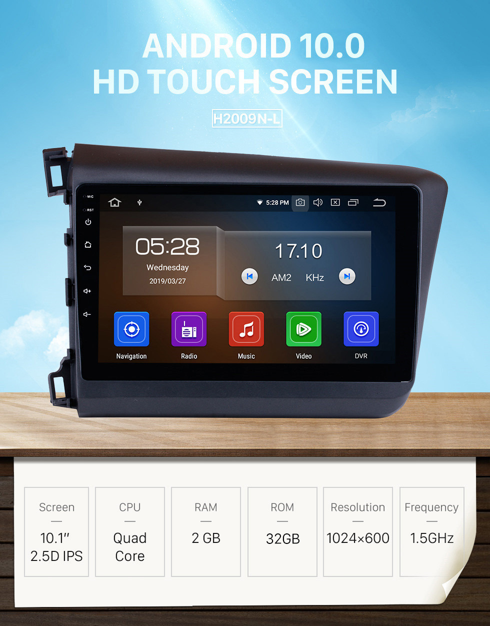 Seicane 10.1 inch For 2012 Honda Civic Android 10.0 Radio GPS navigation system with HD 1024*600 touch screen Bluetooth OBD2 DVR Rearview camera TV 1080P Video 3G WIFI Steering Wheel Control USB Mirror link