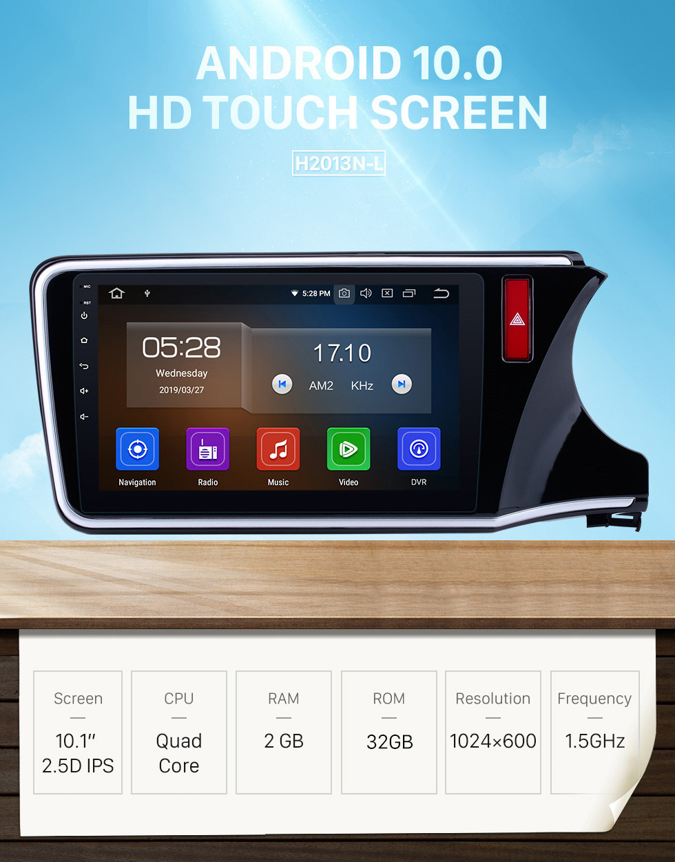 Seicane For 2014 2015 2016 2017 HONDA CITY RHD Radio replacement with Android 10.0 HD Touch Screen Bluetooth GPS Navigation System 3G Mirror Link OBD2 Steering Wheel Control Rearview Camera 1080P Video