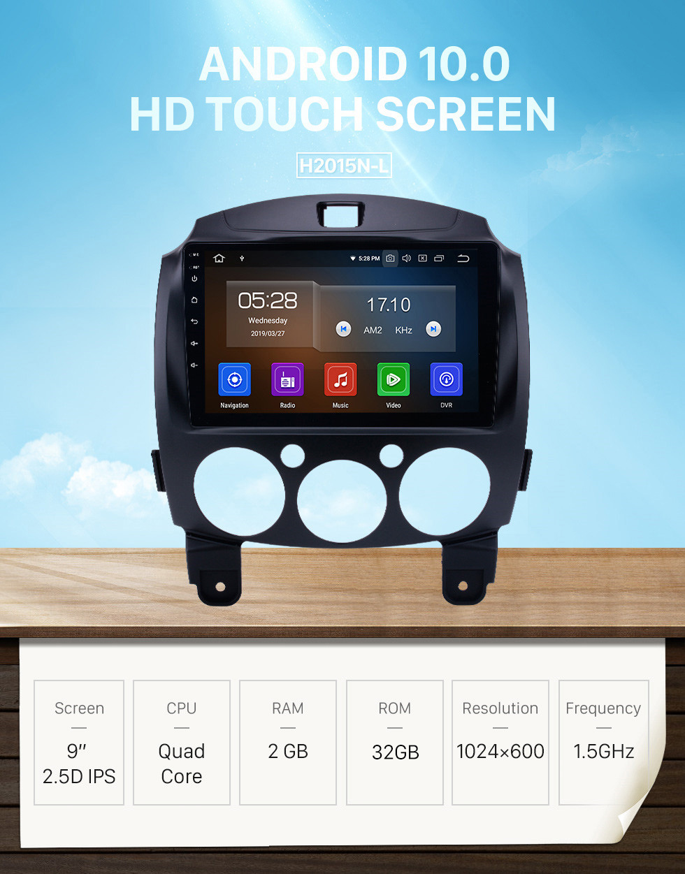 Seicane OEM HD Touchscreen GPS navigation system Android 10.0 for 2007-2014 Mazda 2 Support Radio Vedio Carplay Remote Control Bluetooth