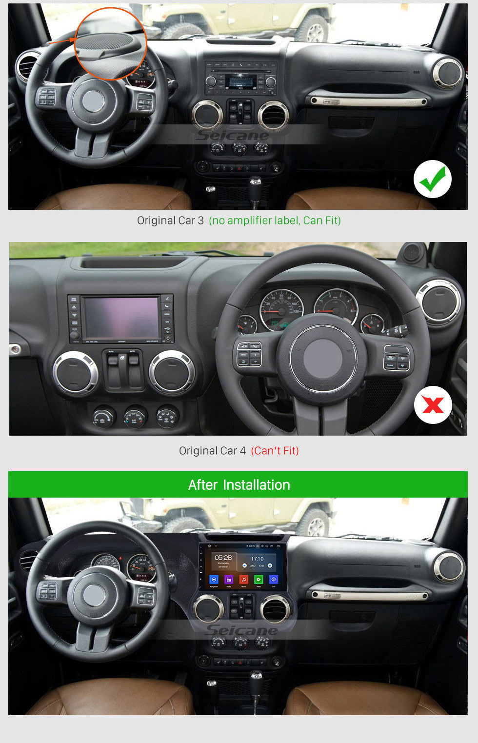 Seicane Android 10.0 10,1 pouces Radio à écran tactile pour 2011-2017 JEEP Wrangler Bluetooth Musique GPS Navigation Head Unit Support Mirror Link DAB + OBDII USB TPMS WiFi Contrôle du volant