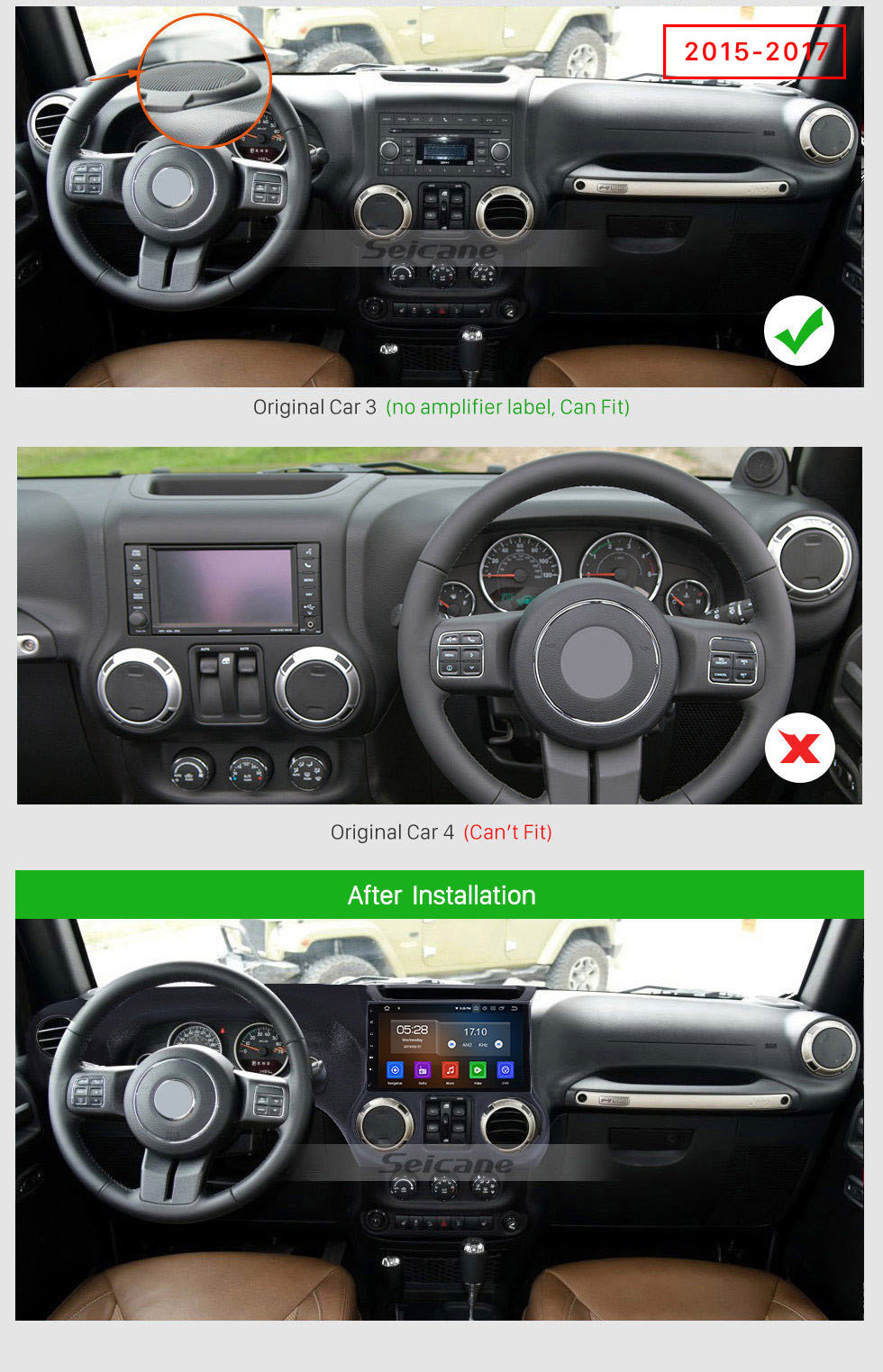 Seicane Android 10.0 10.1 Inch Touchscreen Radio For 2011-2017 JEEP Wrangler Bluetooth Music GPS Navigation Built-in Carplay Support DAB+ OBDII USB TPMS WiFi Steering Wheel Control