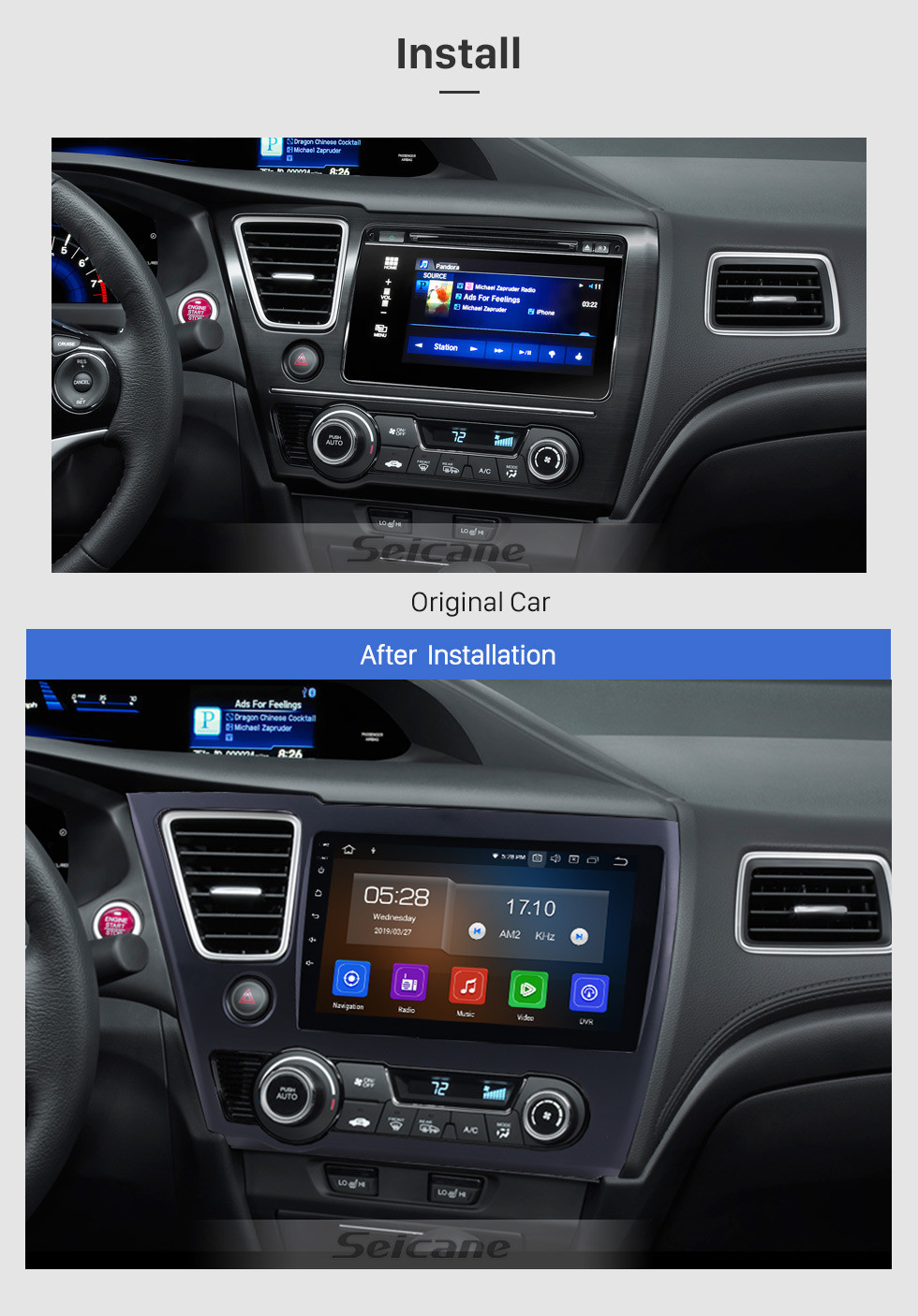 Seicane For 2014 2015 2016 2017 Honda Civic Android 10.0 HD Touchscreen 9 inch car stereo GPS Navigation Radio Bluetooth Mirror link OBD DVR Rear view camera TV USB Carplay