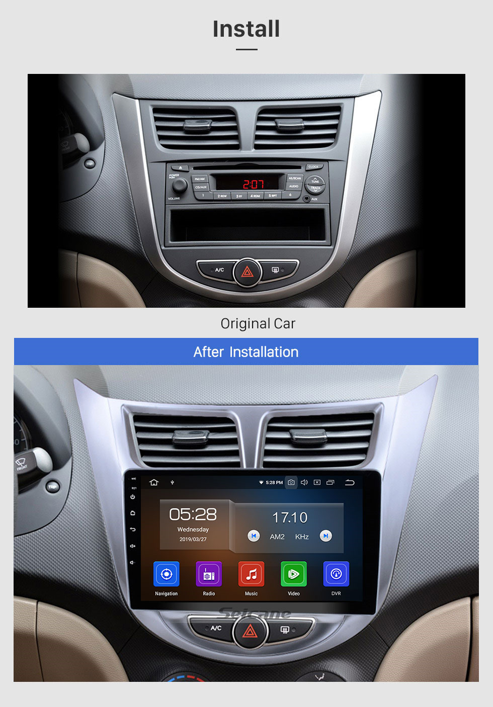 Seicane 9 Inch HD touchscreen Android 10.0 GPS Navigation system For 2011 2012 2013 HYUNDAI Verna with IPS Full Screen View DVR OBD II Bluetooth 3G/4G WiFi Video AUX Rear camera